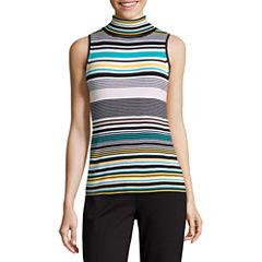 Liz Claiborne Sleeveless Turtleneck Stripe Pullover Sweater
