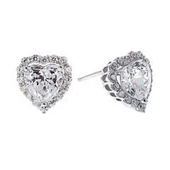 DiamonArt® Cubic Zirconia Sterling Silver Heart Halo Stud Earrings