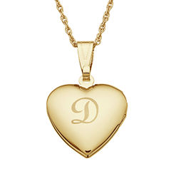 Personalized Gold-tone over Brass Girls Engraved Heart Locket Pendant Necklace