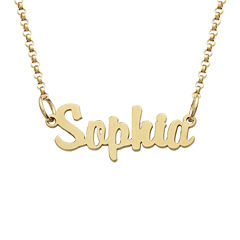 Personalized 18K Gold over Silver Girls Script Name Necklace