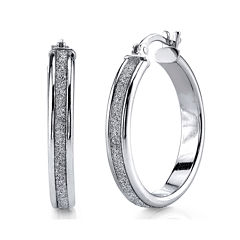 Sterling Silver Glitter 25mm Hoop Earrings