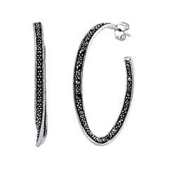Marcasite and Sterling Silver 22mm Hoop Earrings