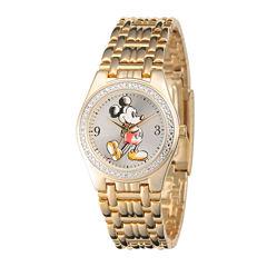 Disney Mens Gold-Tone Metal Alloy Strap Mickey Mouse Bracelet Watch