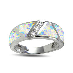 Lab-Created Opal and Cubic Zirconia-Accents Band Ring