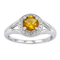Womens Diamond Accent Genuine Yellow Citrine Sterling Silver Halo Ring