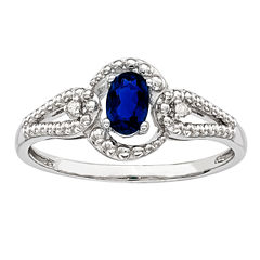 Womens Diamond Accent Lab Created Blue Sapphire Sterling Silver Halo Ring