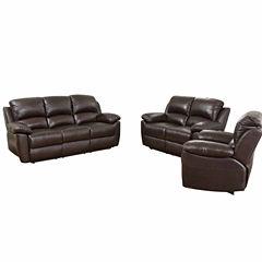 Paisley Leather Sofa + Loveseat Set
