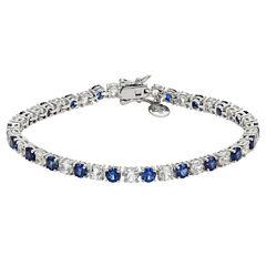 Womens Blue Sapphire Sterling Silver Tennis Bracelet