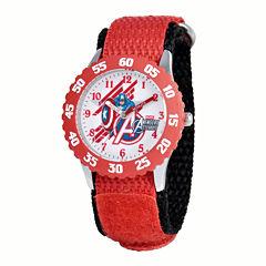 Marvel® Captain America Kids Red Nylon Strap Watch