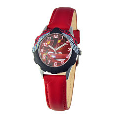 Disney Lightning McQueen Cars Kids Red Leather Strap Watch