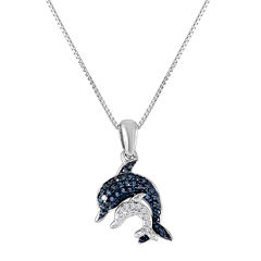 1/10 CT. T.W. Diamond Sterling Silver Dolphin Pendant Necklace