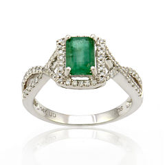 LIMITED QUANTITIES  Emerald and Diamond 14K White Gold Ring