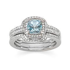 Genuine Aquamarine and 3/8 CT. T.W. Diamond 10K White Gold Ring