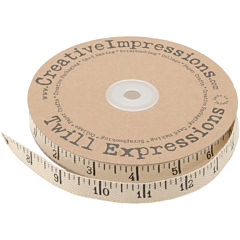 Creative Impressions Antique Ruler 25-Yard Printed Twill Ribbon