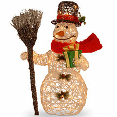 National Tree Co. White Rattan Snowman Holiday Yard Art