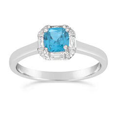 Womens Genuine Blue Topaz Sterling Silver Solitaire Ring