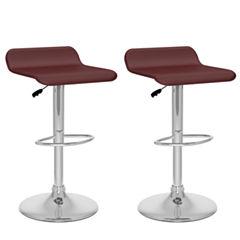 2-Pc. Curved Seat Adjustable Barstools