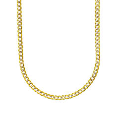 14K Two Tone  3.15MM Diamond Cut Curb Necklace 22
