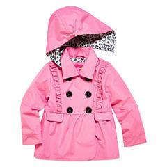 Pink Platinum Girls Toddler Ruffle Trench Raincoat