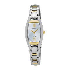 Seiko® Womens Two-Tone Rectangular Solar Bracelet Watch SUP318