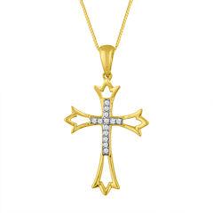 Womens Diamond Accent 10K Gold Cross Pendant Necklace
