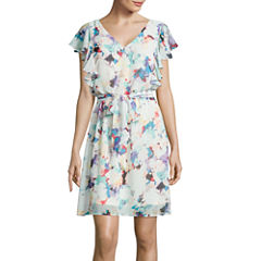 Signature by Sangria Flutter-Sleeve Floral Print Chiffon Dress