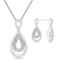 Womens 2-pc. White Diamond Sterling Silver Jewelry Set