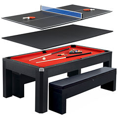 Hathaway Park Ave 7ft Pool Table Combo Set w/ Benches