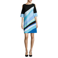 J Taylor Cold Shoulder Sleeve Shift Dress