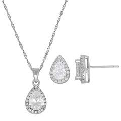 Diamonart Womens 2-pc. White Cubic Zirconia Sterling Silver Jewelry Set