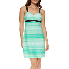 Free Country Stripe Nylon Swimsuit Cover-Up Dress
