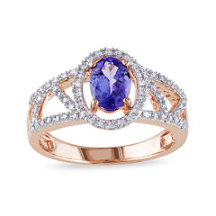 Genuine Tanzanite and Diamond 10K Rose Gold Open-Design Halo Ring