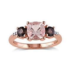 Genuine Morganite, Smokey Quartz and Diamond-Accent 3-Stone Ring