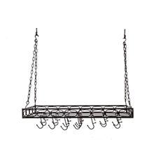 Old Dutch Matte Black Medium Gauge Rectangular PotRack with 16 Hooks