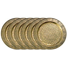 Old Dutch 13in Antique Brass Charger Plates  Set of 6