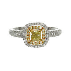 Womens 3/4 CT. T.W. Genuine Oval Yellow Diamond 14K Gold Engagement Ring