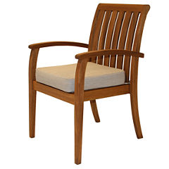 Outdoor Interiors Deluxe Eucalyptus Arm Chair withOlefin Cushion