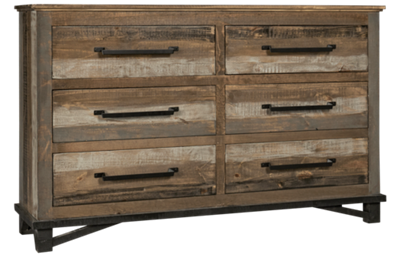 International Furniture Direct Loft Brown 6 Drawer Dresser
