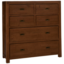 Four Hands Post And Rail 6 Drawer Tallboy Chest