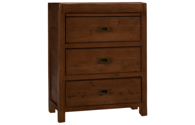 Four Hands Post And Rail Nightstand with 3 Drawers