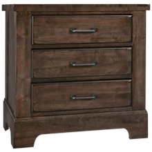 Vaughan-Bassett Cool Rustic 3 Drawer Nightstand