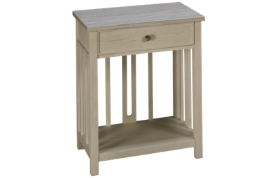 Universal Coastal Living Bedside Table with Stone Top
