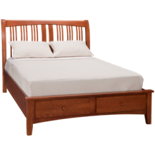 A America Cherry Garden Queen Sleigh Platform Bed with Underbed Storage