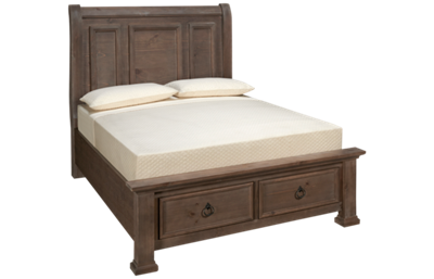 Vaughan-Bassett Rustic Hills Queen Sleigh Storage Bed
