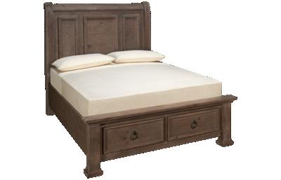 Vaughan-Bassett Rustic Hills Queen Sleigh Storage Bed