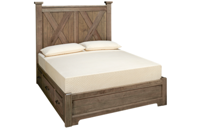 Vaughan-Bassett Cool Rustic Queen X Low Profile Bed with Storage