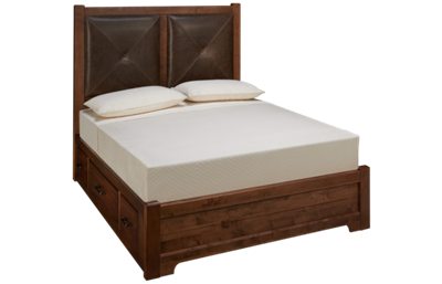 Vaughan-Bassett Cool Rustic Queen Low Profile Leather Storage Bed