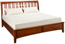 A America Cherry Garden King Sleigh Platform Bed with Underbed Storage