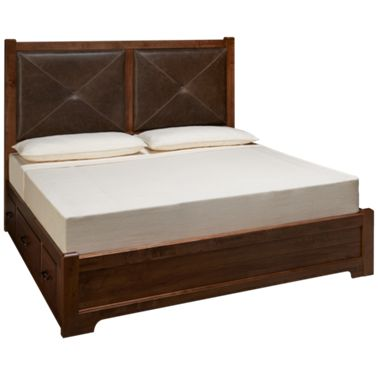 Vaughan Bassett Cool Rustic King Low Profile Leather Storage Bed