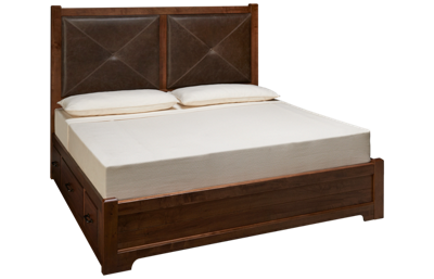 Vaughan-Bassett Cool Rustic King Low Profile Leather Storage Bed